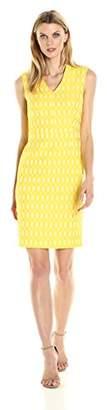 Kasper Women's Oval Jacquard V Neck Sheath Dress