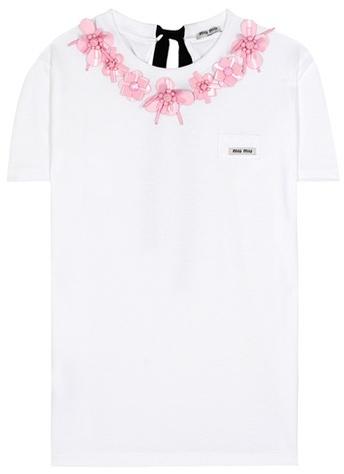 Miu MiuMiu Miu Exclusive to mytheresa.com – embellished cotton T-shirt