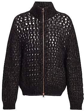 Brunello Cucinelli Women's Mohair & Cashmere Open Weave Zip-Front Cardigan