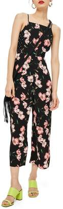 Topshop Floral Spotted Bow Back Jumpsuit