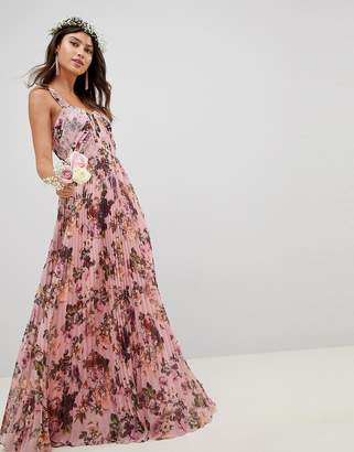 Asos Design DESIGN Pleated Sleeveless Maxi Dress In Pink Floral Print