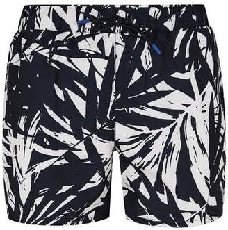 Topman Mens Navy Banana Leaf Swim Shorts