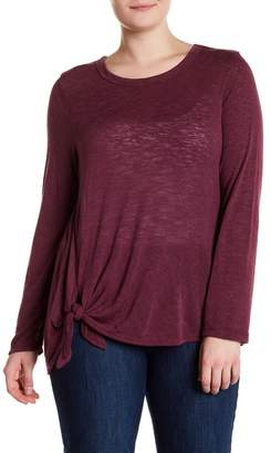 Bobeau Tie-Front Knit Top (Plus Size)