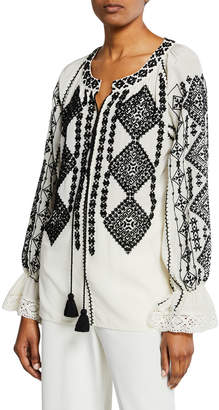 Figue Lana Embroidered Peasant Top