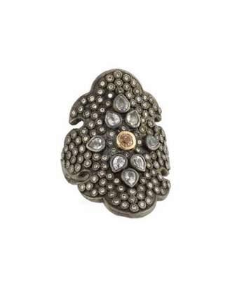 Armenta Old World Diamond Scroll Ring with Garnet