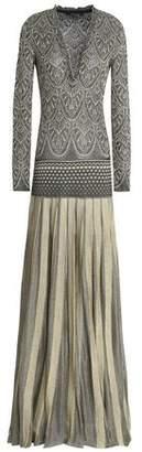 Roberto Cavalli Pleated Metallic Knitted Gown