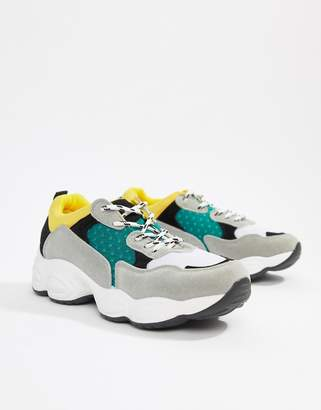 Public Desire Cheetah black mix chunky sneakers