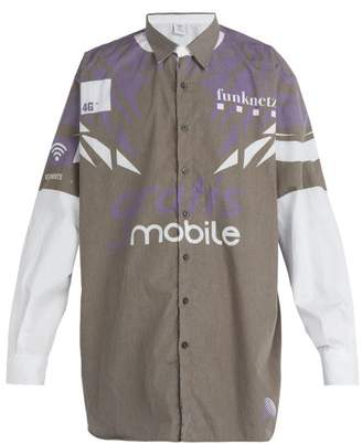Vetements Mobile Print Cotton Shirt - Mens - Grey
