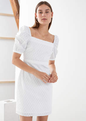 And other stories Puff Sleeve Dobby Cotton Mini Dress