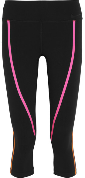 Nike - Legendary Cropped Neon-trimmed Stretch-jersey Leggings - Black