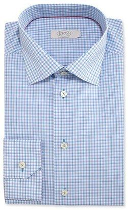 Eton Contemporary-Fit Check Dress Shirt, Aqua $255 thestylecure.com