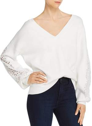 French Connection Severine Lace-Sleeve V-Neck Sweater