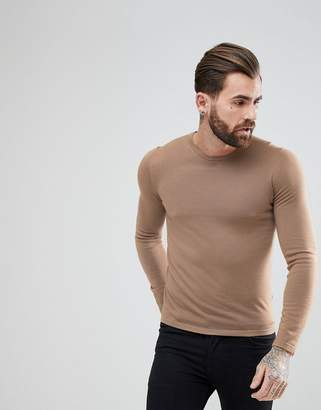 HUGO San Paolo Slim Fit Extra Fine Merino Knitted Sweater in Camel