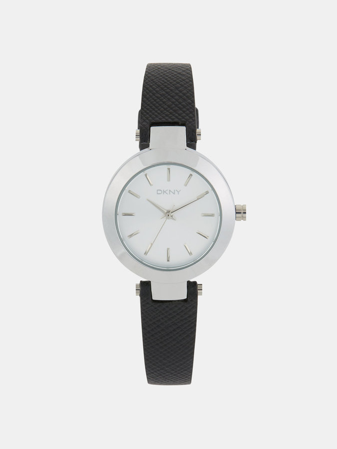 DKNY Stanhope Black Saffiano Leather Watch