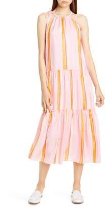 Club Monaco Amirra Sleeveless Tiered Silk Midi Dress
