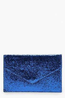 boohoo Chunky Glitter Envelope Clutch And Chain