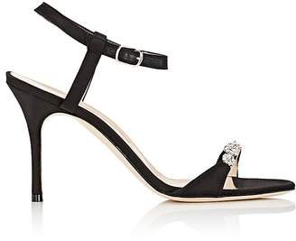 Manolo Blahnik Women's Priscaba Jeweled Satin Sandals