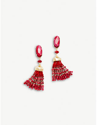 Kendra Scott Dove 14ct gold-plated red Mother of Pearl tassel earrings