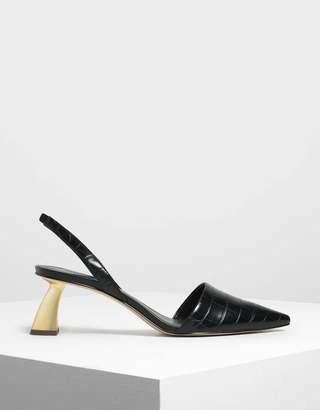 Charles & Keith Linen Sculptural Heel Slingback Pumps
