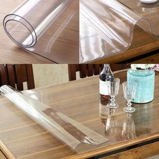 ONLINE Wipe Clean Transparent Tablecloth Mat PVC Glass Effect Table Protection Cover