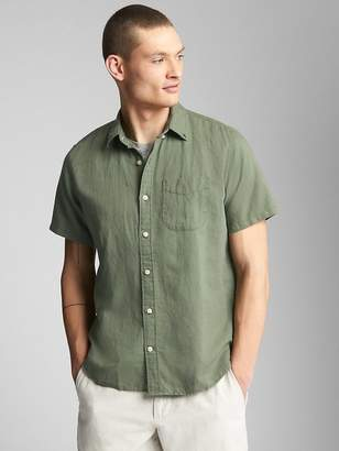 Gap Standard Fit Short Sleeve Shirt in Linen-Cotton