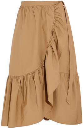 J.Crew Ruffled Cotton-poplin Wrap Skirt - Beige