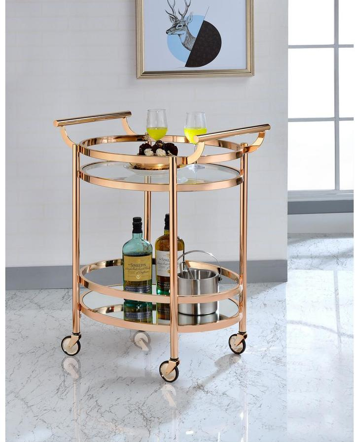AcmeACME 98192 Lakelyn Clear Glass and Rose Gold Serving Cart