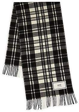 Ami Paris Men's Plaid Wool Scarf