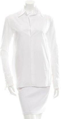 Yohji Yamamoto Embroidered Long Sleeve Top w/ Tags $475 thestylecure.com