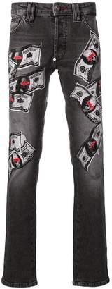 Philipp Plein embroidered money pattern jeans
