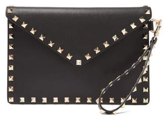 Valentino Rockstud Embellished Leather Pouch Bag - Womens - Black