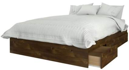 Nexera Nocce Full Size 3-Drawer Bed, Truffle