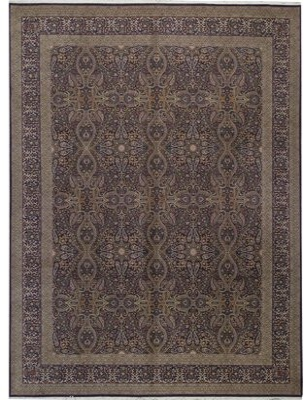 "Bokara Rug Co., Inc. One-of-a-Kind Shah Hand-Knotted 11'9"" x 14'9"" Wool Aubergine Area Rug Bokara Rug Co., Inc."