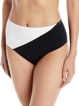 Diane von Furstenberg High-Waist Paneled Cheeky Bikini Bottoms