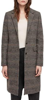 AllSaints Indra Wool & Cotton Blend Check Coat