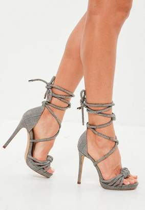 Missguided Gray Plaid Knotted Front Platform Sandals