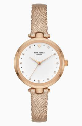 Kate Spade Crystal Accent Scallop Holland Leather Strap Watch, 34mm