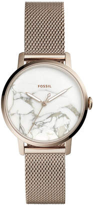 Fossil Women's Neely Pastel Pink-Tone Stainless Steel Mesh Bracelet Watch 34mm