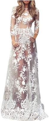 24b2512141f3a Challyhope_Women Dress Clearance Maxi Dress, Women Sexy Semi-Sheer Lace  Crochet Floral Long Dress