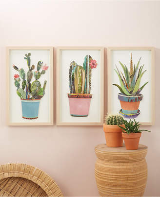 Twos Company Two's Company Cactus Set of 3 Paper Collage Wall Art