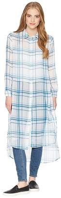Romeo & Juliet Couture Semi Transparent Plaid Shirtdress Women's Dress