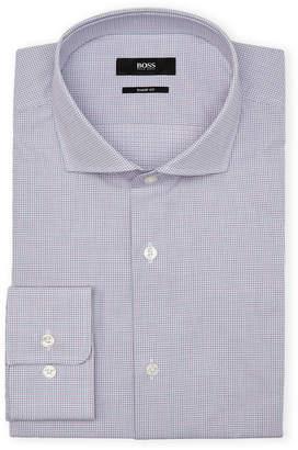 HUGO BOSS Med Pink Checked Sharp Fit Sport Shirt