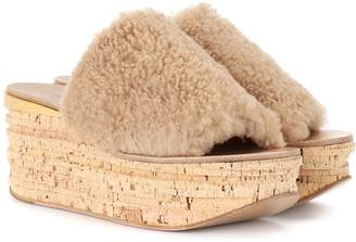 Chloé Camille shearling wedge mules