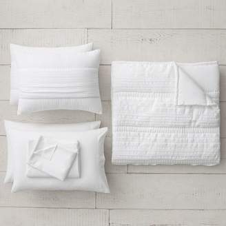 Pottery Barn Teen Pretty Pleats Quilt Bundle, Full, White