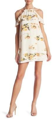 Romeo & Juliet Couture Halter Cold Shoulder Floral Print Dress