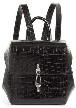 Alexander Wang Hook Mini Croc Embossed Leather Backpack