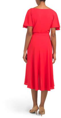 Flutter Sleeve Sash Dress