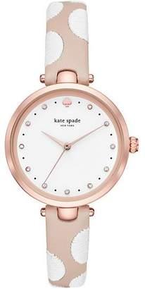 Kate Spade Holland White Dot Leather Watch, Vachetta