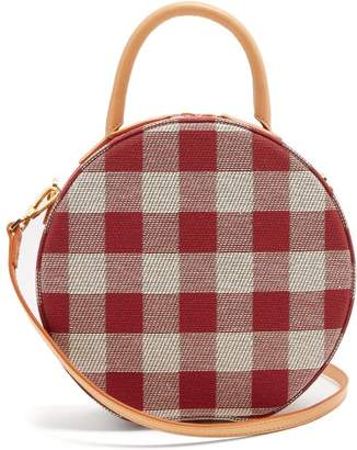 Mansur Gavriel Circle Gingham Cotton Canvas Cross Body Bag - Womens - Red Multi