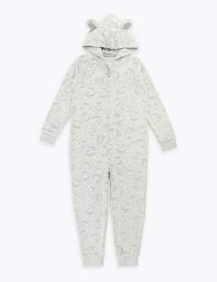 Marks and Spencer Fleece Snow Leopard Onesie (1-16 Years)